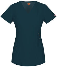 Women's XTreme Stretch Mock Wrap Scrub Top - CARIBBEAN (CRB)
