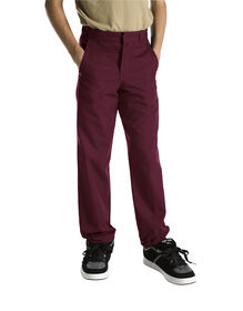 Boys' Classic Fit Straight Leg Flat Front Pant, 8-20 - BURGUNDY (BY)