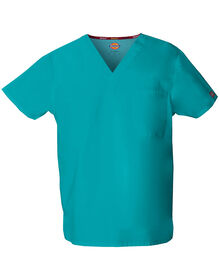 Unisex EDS Signature V-Neck Scrub Top - DICKIES TEAL (DTL)