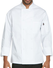 Unisex Classic Cloth Covered Button Chef Coat - WHITE (WHT)