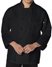 Unisex Classic Knot Button Long Sleeve Chef Coat - BLACK (BLK)