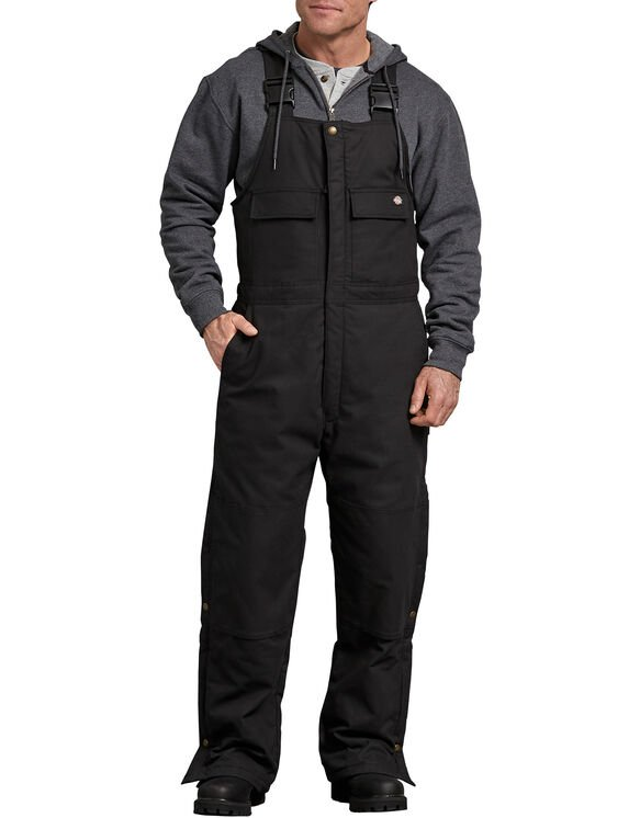 FLEX Sanded Duck Insulated Bib Overalls - BLACK (BK)