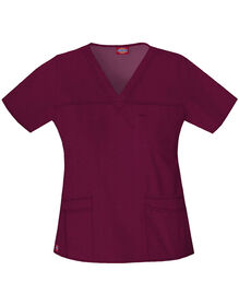 Women's Contemporary Fit Gen Flex Youtility V-Neck Scrub Top - WINE (WIN)
