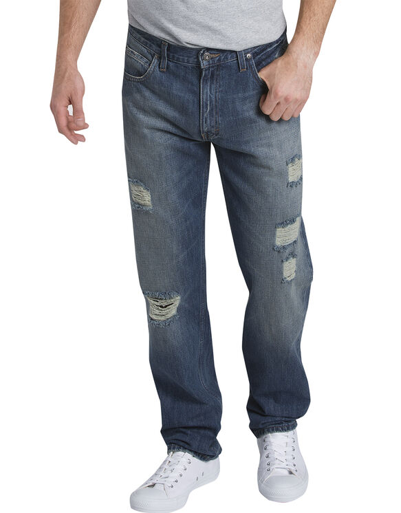 Dickies X-Series Relaxed Fit Straight Leg 5-Pocket Denim Jeans - DECONSTRUCTED MEDIUM INDIGO (DMI)