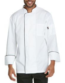 Unisex Cool Breeze Chef Coat with Piping - BLACK (BLK)