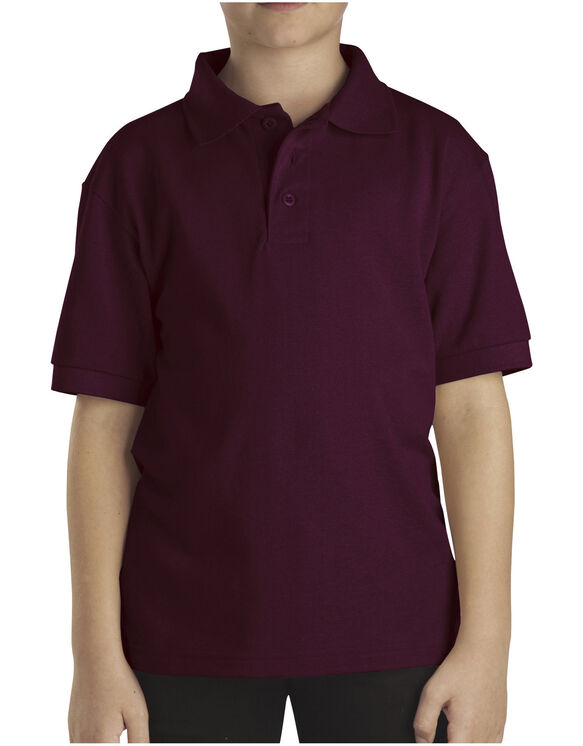 Kids' Short Sleeve Pique Polo, 8-20 - BURGUNDY (BY)