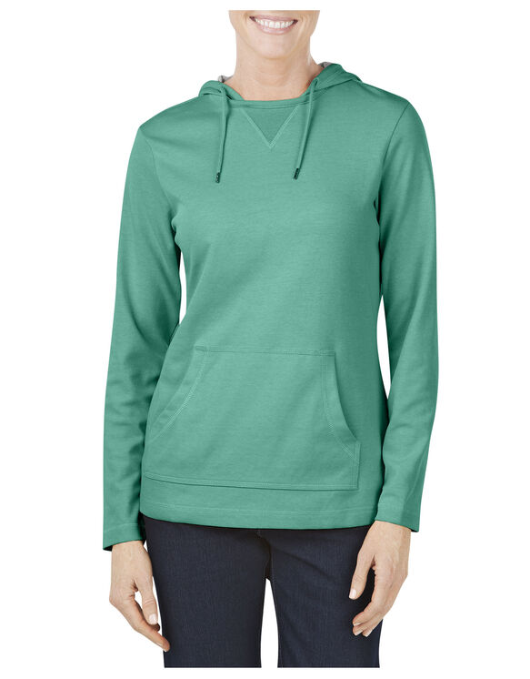 Women's Plaited Jersey Pullover Hoodie - BRIGHT SEA GREEN (TS)