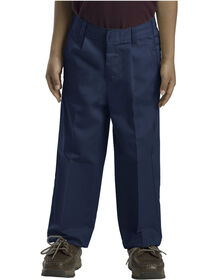 Boys' Classic Fit Straight Leg Pleated Front Pants (Husky) - DARK NAVY (DN)