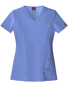 Women's Contemporary Fit Xtreme Stretch V-Neck Scrub Top - CEIL BLUE (CBL)