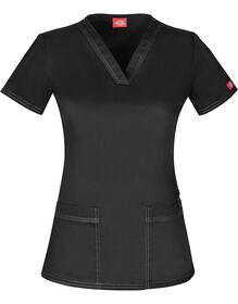 Women's Gen Flex V-Neck Scrub Top - BLACK (BLK)
