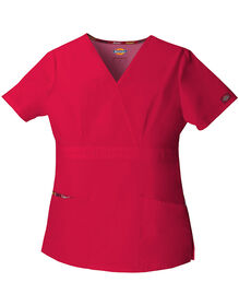 Women's EDS Signature Mock Wrap Scrub Top - RED (RD)