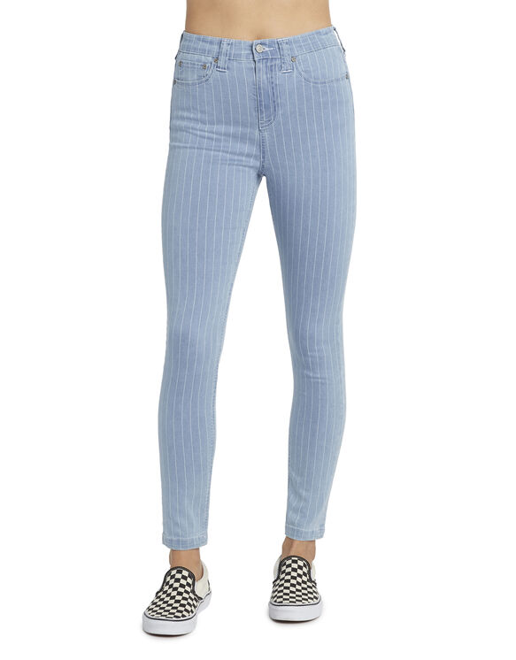 Dickies Girl Juniors' 5-Pocket Pin Striped High Rise Skinny Jeans - Stonewashed Light Blue (LSW)