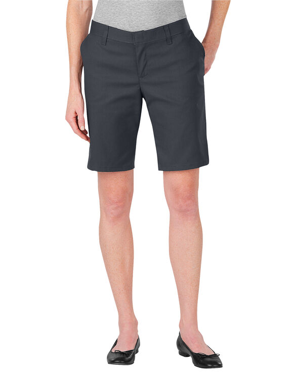 "Women's 9"" Relaxed Fit Flat Front Shorts - Dark Charcoal Gray (DC)"