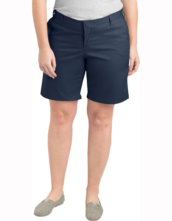 """Women's 9"""" Relaxed Fit Flat Front Shorts (Plus) - Dark Navy (DN)"""