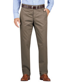 Regular Fit Tapered Leg Flat Front Khaki Pants - Pebble Brown (RNP)