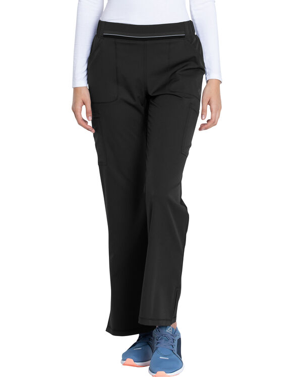 Women's Dynamix Mid Rise Moderate Flare Leg Pull-on Scrub Pants - Black (BLK)