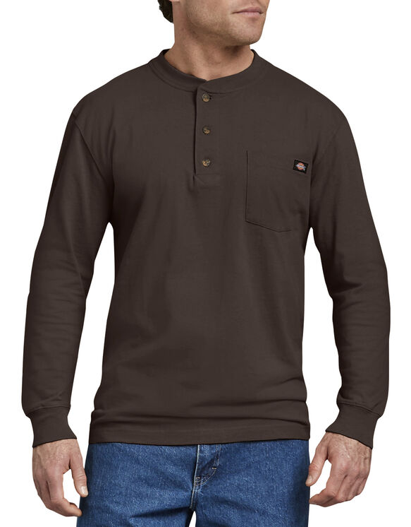 Long Sleeve Heavyweight Henley Shirt - Dark Brown (CB)