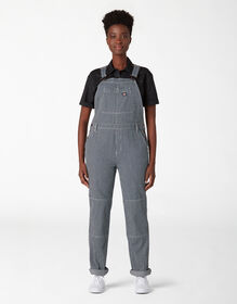 Women's Hickory Stripe Double Knee Bib Overalls - Blue White Hickory Stripe (RHS)