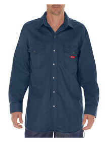 Flame-Resistant Long Sleeve Twill Snap Front Shirt - Navy Blue (NV)
