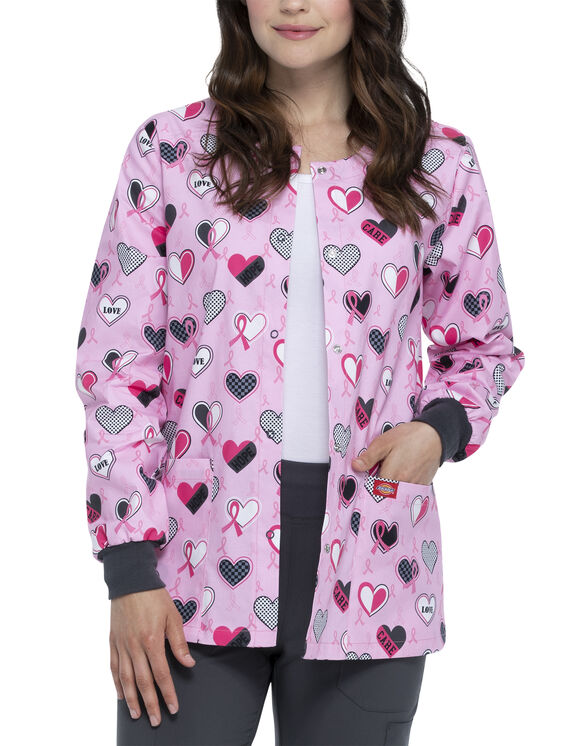 Women's EDS Signature Print Snap-Front Warm-up Scrub Jacket - Actively Care (AVC)