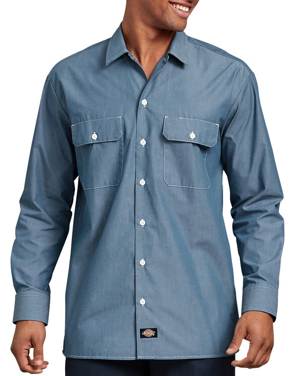 Relaxed Fit Long Sleeve Chambray Shirt - Blue Chambray (BU)