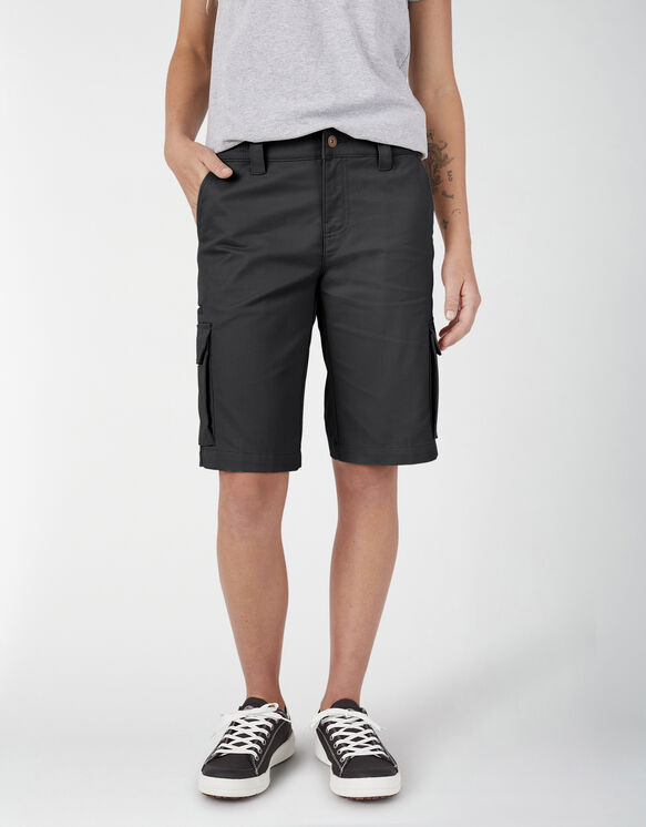 "Women's 11"" Stretch Cargo Relaxed Fit Shorts - Black (BK)"