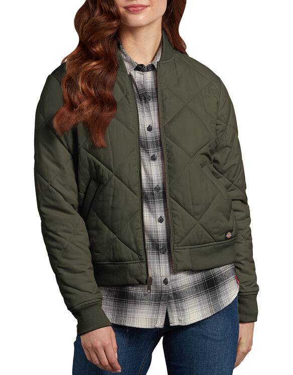 Women's Quilted Bomber Jacket - Green Leaf (EF)