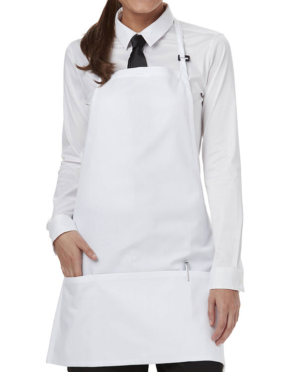 Apron with Adjustable Neck and 3 Pockets - White (WHT)