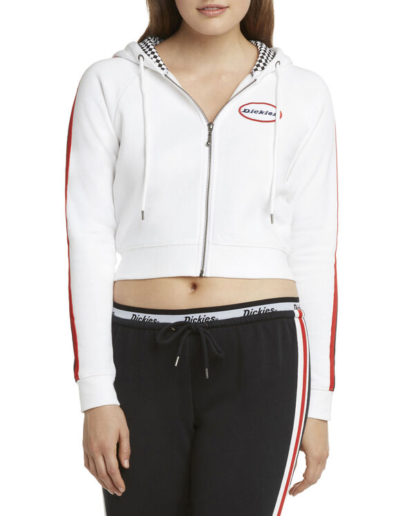 Dickies Girl Juniors' Winners Cup Zip Front Cropped Jacket - White (WH)