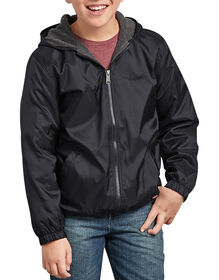 Kids' Fleece Lined Hooded Nylon Jacket - Black (BK)