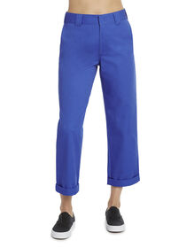 "Dickies Girl Juniors' Roll Hem 26"" High Rise Work Crop Pants - Electric Blue (EB)"