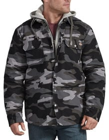 Relaxed Fit Icon Hooded Duck Quilted Shirt Jacket - Slate Gray Camo (SAC)