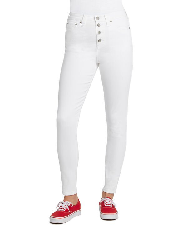 Dickies Girl Juniors' High Rise 5-Pocket Jeans - White (WH)