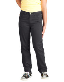Girls' Skinny Fit Straight Leg 5-Pocket Stretch Twill Pants, 7-20 - Black (BK)