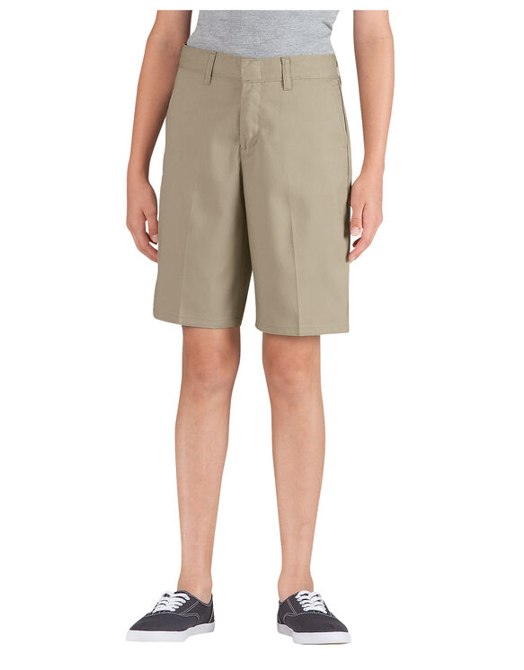Genuine Dickies Girls' Classic Traditional Flat Front Shorts - Military Khaki (KH)