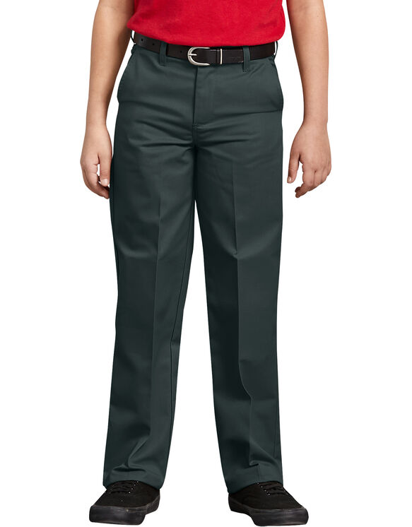 Boys' Classic Fit Straight Leg Flat Front Pants, 4-20 - Hunter Green (GH)