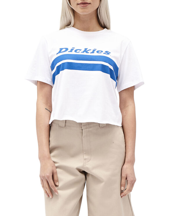 Dickies Girl Juniors' Chest Striped Cropped Short Sleeve T-Shirt - Blue White Stripe (BS)