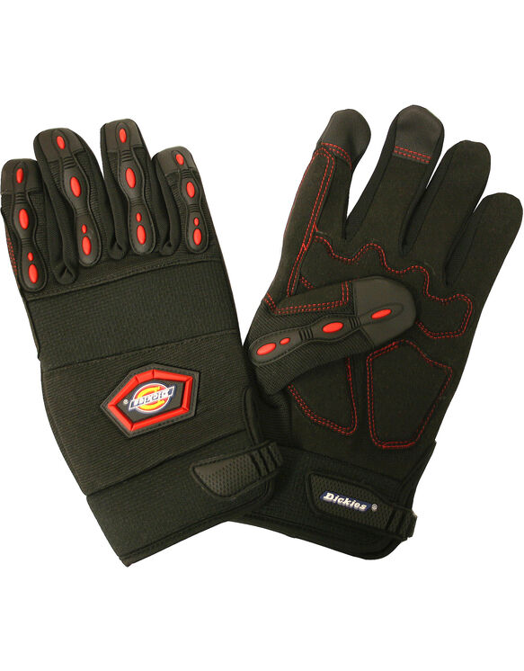 Mechanics Gloves, Synthetic Leather Palm, Large - Black (BK)