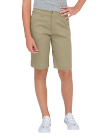 Girls' Classic Fit Bermuda Stretch Twill Shorts, 7-20 - Desert Khaki (DS)