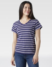 Women's Short Sleeve V-Neck T-Shirt - Blue Multi Stripe (BPS)