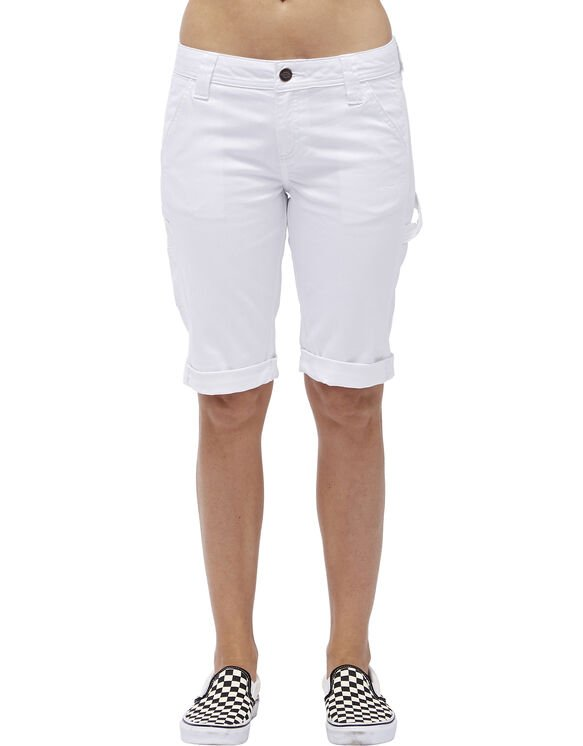 "Dickies Girl Juniors' Carpenter 11"" Midrise Bermuda Shorts - White (WHT)"
