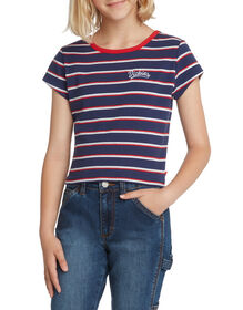 Girls' Short Sleeve Cropped Striped T-Shirt - Navy White Red (NWR)