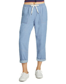 Dickies Girl Juniors' Cuffed Elastic Waist Pants - Stonewashed Light Blue (LSW)