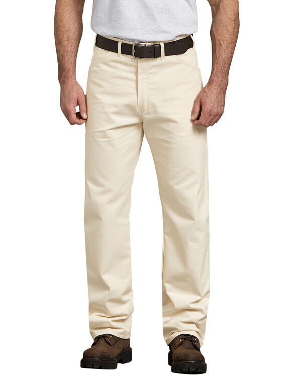 Relaxed Fit Straight Leg Cotton Painter's Pants - NATURAL (NT)