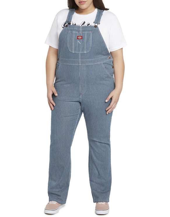 Dickies Girl Juniors' Plus Hickory Striped Overall - Blue White Hickory Stripe (HS)