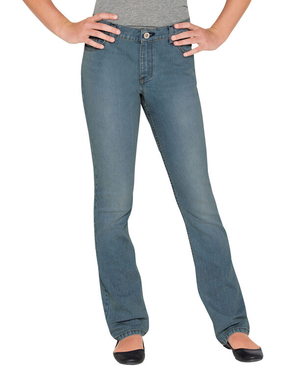 Girls' Slim Fit Bootcut Denim Jeans, 7-16 - Bleached Stonewashed Blue (BST)