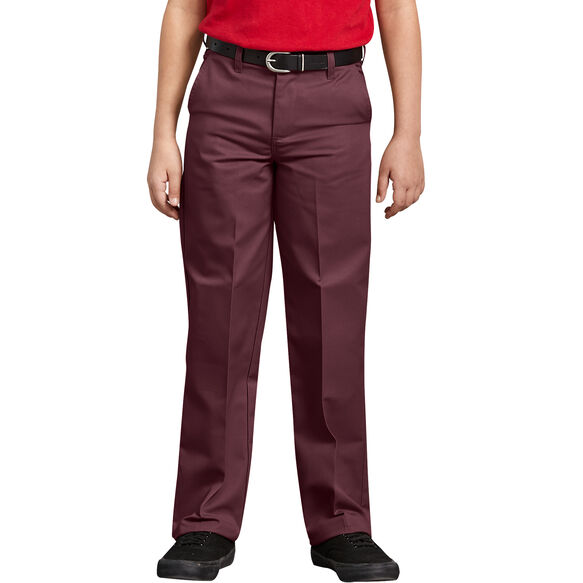 Boys' Classic Fit Straight Leg Flat Front Pants, 4-7 - Burgundy (BY)