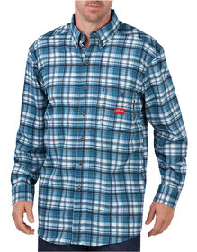 Flame-Resistant Long Sleeve Plaid Shirt - Blue White Plaid (HHP)