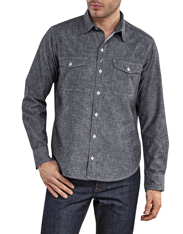 Dickies 1922 Long Sleeve Selvedge Chambray Shirt with Pocket Flaps - Rinsed Black (RBK)