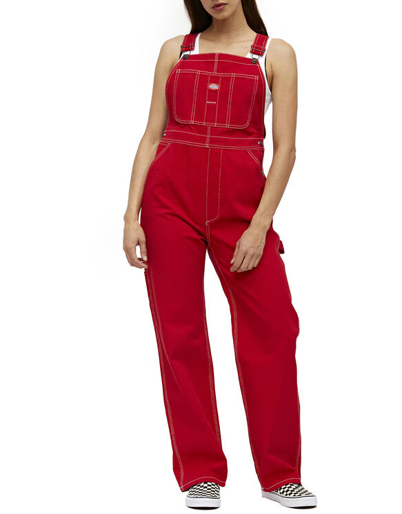 Dickies Girl Juniors' Relaxed Twill Overalls - Red (RD)